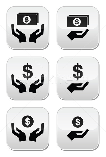 Hands with dollar banknote, coin vector icons set  Stock photo © RedKoala