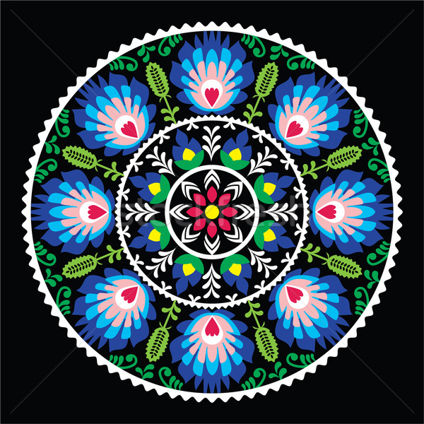 Stock photo: Polish traditional folk art pattern in circle -  Wzory Lowickie on black