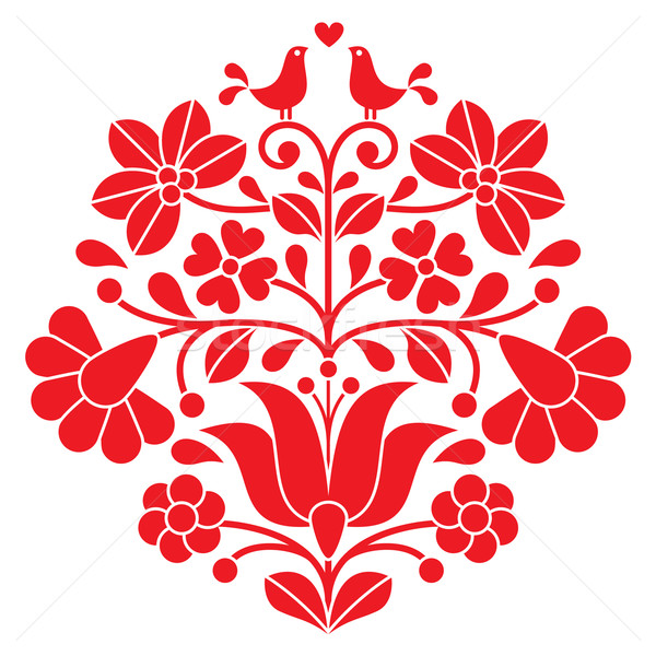 Kalocsai red embroidery - Hungarian floral folk pattern with birds Stock photo © RedKoala