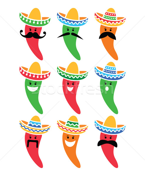 Chili pepper in Mexican Sombrero hat with mustache icons  Stock photo © RedKoala