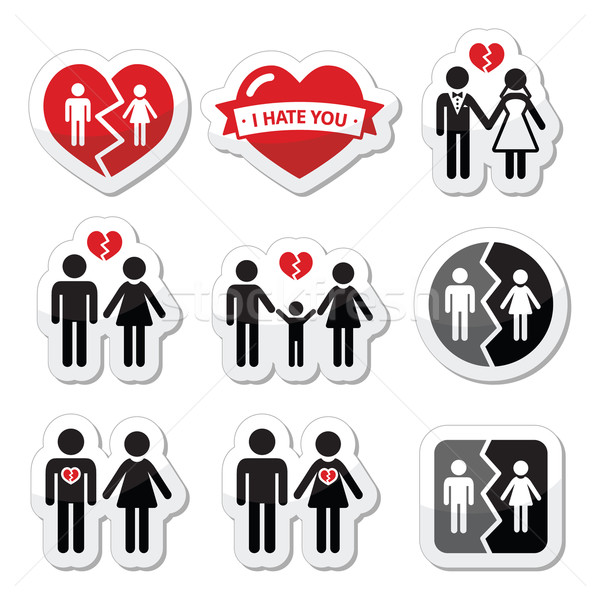 Couple breakup, divorce, broken family vector icons set  Stock photo © RedKoala