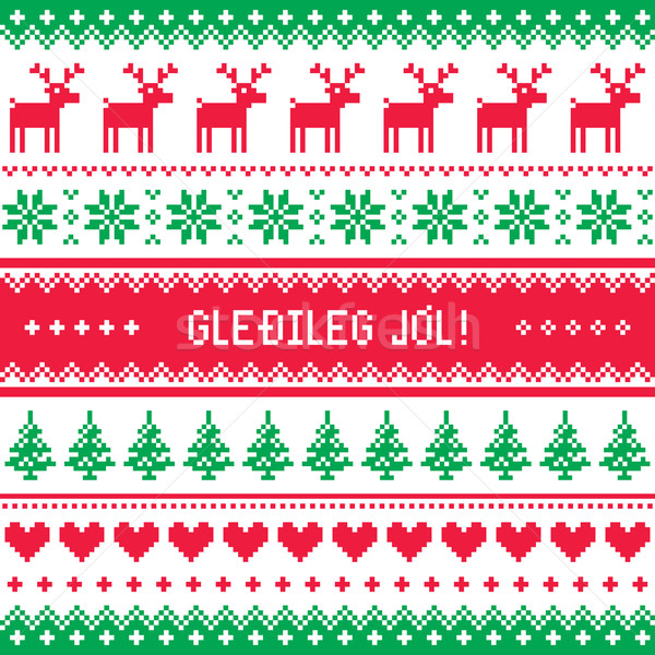 Gledileg Jol - Merry Christmas in Icelandic pattern, greetings card  Stock photo © RedKoala