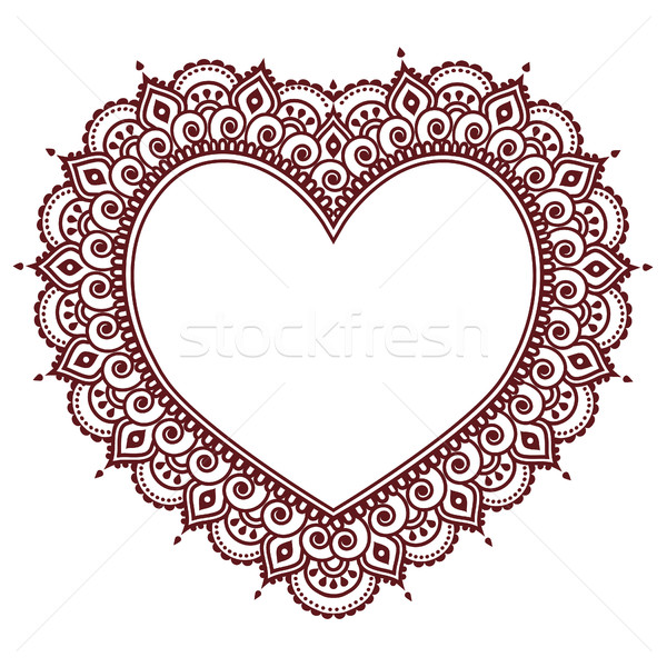 Valentine's Day grettings card with heart Mehndi, Indian henna tattoo pattern Stock photo © RedKoala