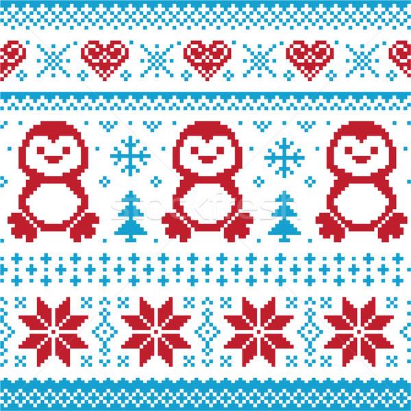 Stockfoto: Christmas · winter · gebreid · patroon · kaart · trui