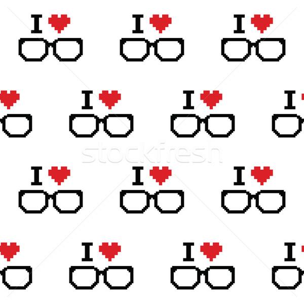 Szeretet szemüveg végtelen minta 80-as évek számítógépes játék fehér Stock fotó © RedKoala