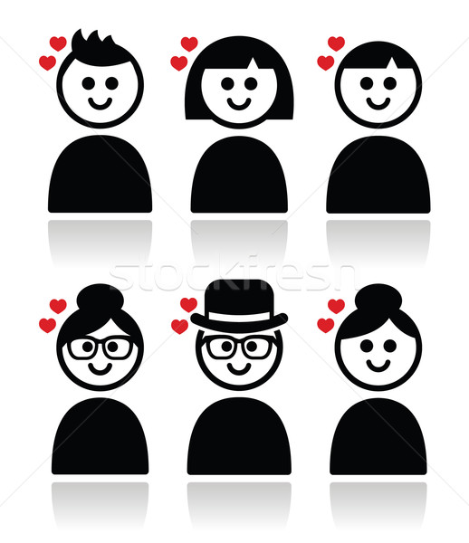 Photo stock: Personnes · coeurs · amour · saint · valentin · différent
