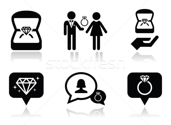 Engagement bague en diamant boîte vecteur homme Photo stock © RedKoala