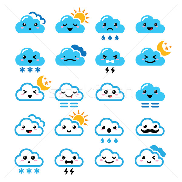 Cute cloud - Kawaii, Manga icons with different expressions - happy, sad, angry  Stock photo © RedKoala