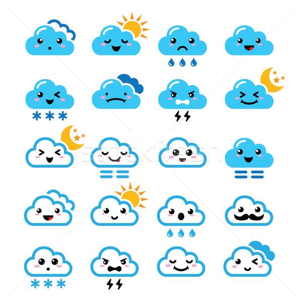 Cute wolk kawaii manga iconen verschillend Stockfoto © RedKoala