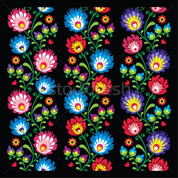 Seamless long Polish folk art pattern - wzory lowickie, wycinanka    Stock photo © RedKoala
