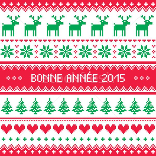 Bonne Annee 2015 - French happy new year pattern    Stock photo © RedKoala