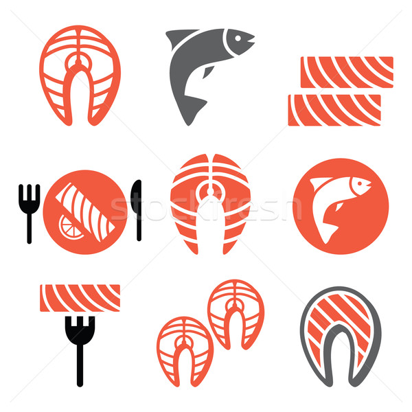 Salmon fish and meal - food icons set Stock photo © RedKoala