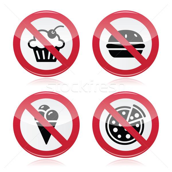 No fast food, no sweets warning red sign  Stock photo © RedKoala