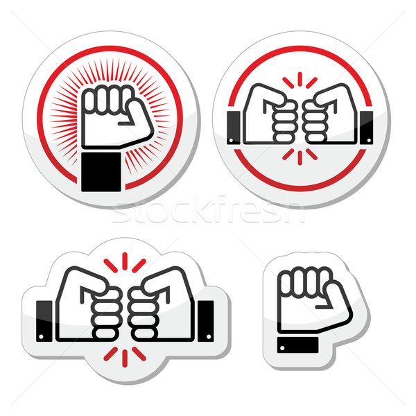Fist, fist bump vector icons set Stock photo © RedKoala