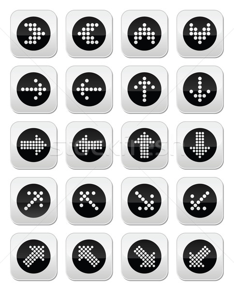 Dotted arrows round icons set isolated on white Stock photo © RedKoala