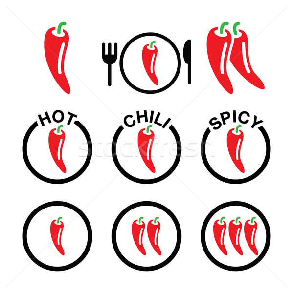 Red hot chili peppers icons set Stock photo © RedKoala