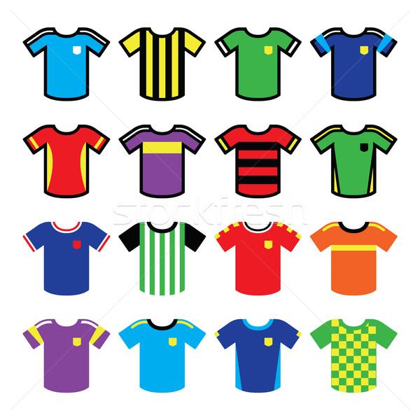 Football or soccer jerseys colorful icons set  Stock photo © RedKoala