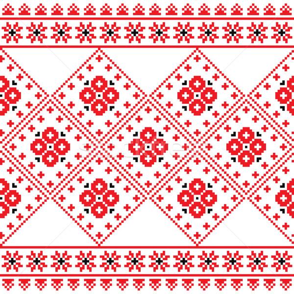 Ukrainian, Eastern European folk art embroidery pattern or print   Stock photo © RedKoala