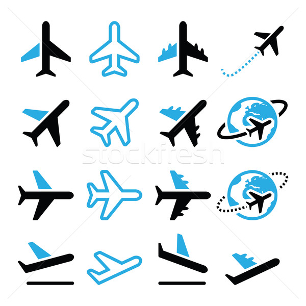 Plane, flight, airport  black and blue icons set Stock photo © RedKoala