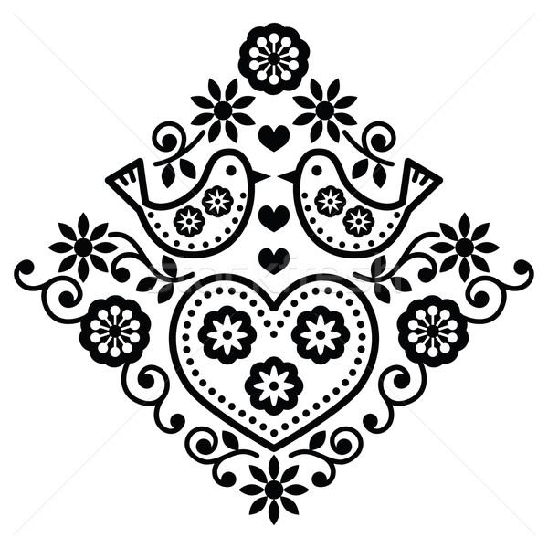 Folk art floral black vector pattern with birds Stock photo © RedKoala
