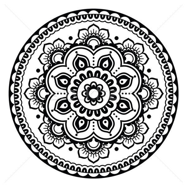 Indian, Mehndi Henna floral tattoo round pattern Stock photo © RedKoala