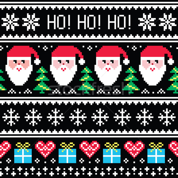 c25474606016  5890437 Christmas jumper or sweater seamless pattern with Santa and  presents by RedKoala Stock photo