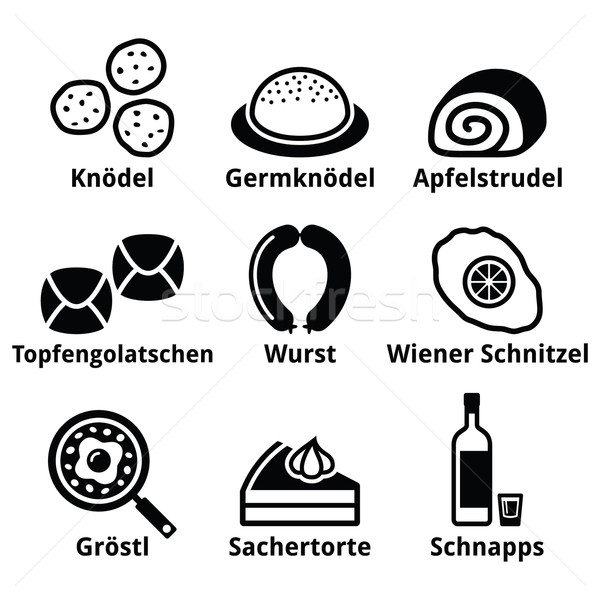 Austrian food - traditional meals an drink icons set  Stock photo © RedKoala