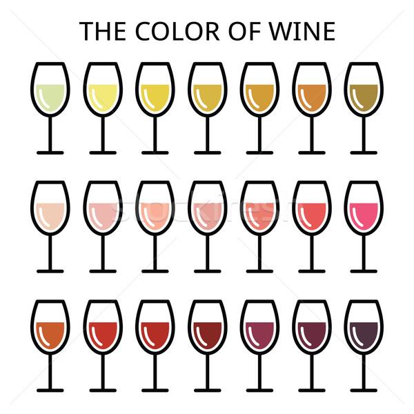 Сток-фото: цвета · вино · различный · тень · белый · закрывается