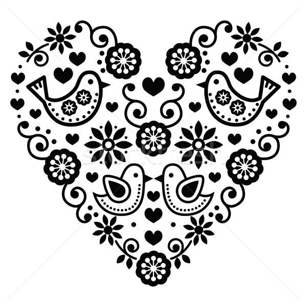 Folk art Valentine's Day heart - love, wedding, birthday greetings card Stock photo © RedKoala