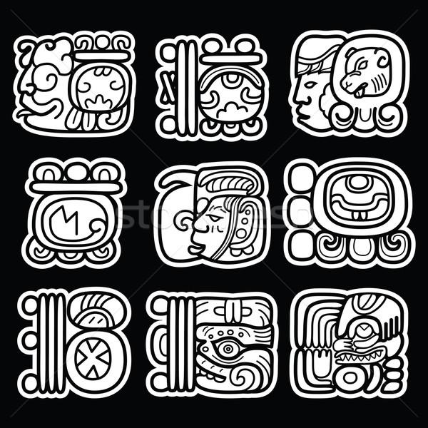 Maya glyphs, writing system and languge vector design  on black background Stock photo © RedKoala