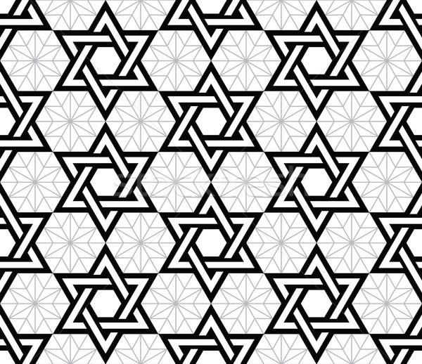 Jewish, Star of David black seamless pattern Stock photo © RedKoala