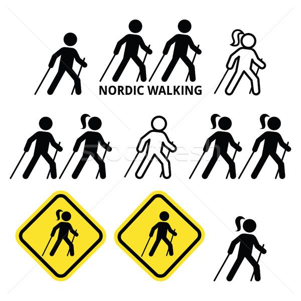 Nordic Walking, people walking outdoors with sticks icons set  Stock photo © RedKoala