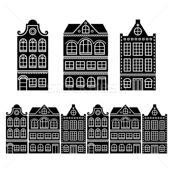 Foto stock: Amsterdam · casas · holandês · edifícios · holandês · Holanda