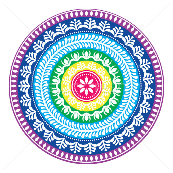 Folk round pattern, hippie colorful mandala, boho style ornament  Stock photo © RedKoala