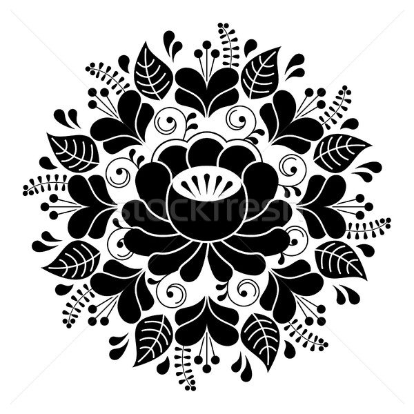Russian inspired folk art pattern - black and white composition Stock photo © RedKoala
