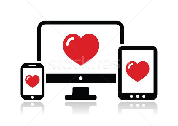 Responsive design for web - computer screen, smartphone, tablet icon Stock photo © RedKoala
