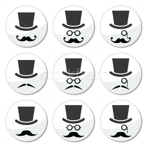 Mustache or moustache with hat and glasses icons set Stock photo © RedKoala