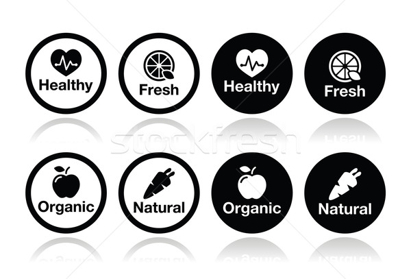 Organic food, fresh and natural products icons set Stock photo © RedKoala