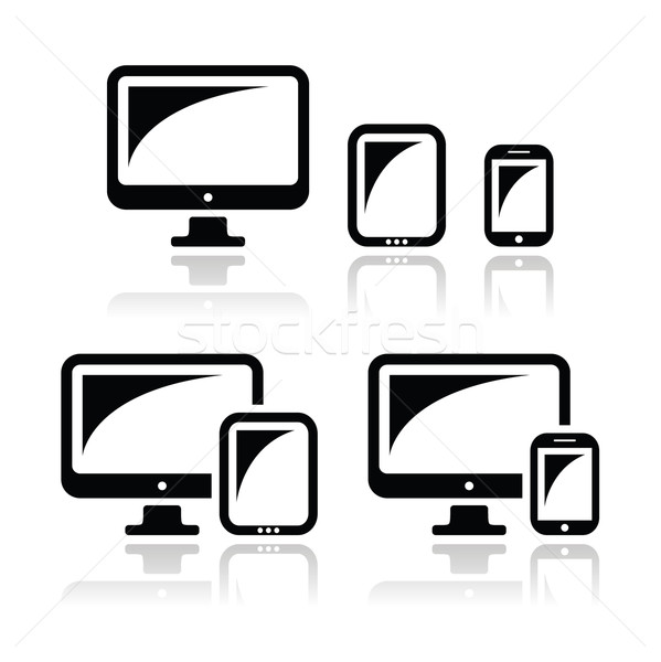 Computer, tablet, smartphone vector icons set Stock photo © RedKoala