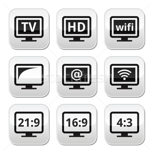 TV monitor, screen buttons set Stock photo © RedKoala