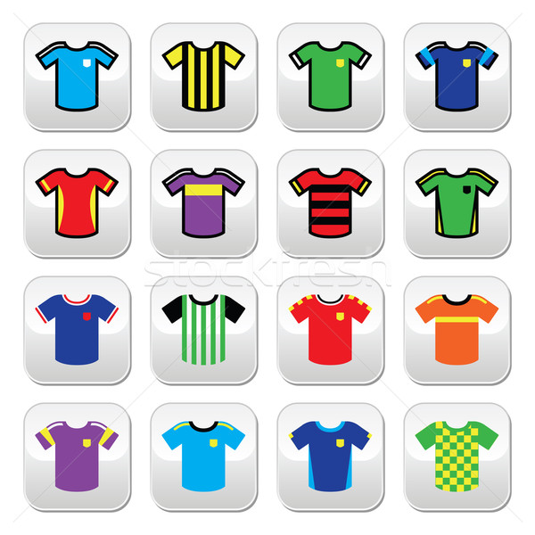 Football or soccer jerseys colorful buttons set  Stock photo © RedKoala