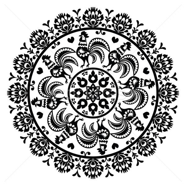 Stock photo: Monochrome Polish folk art pattern in circle with roosters - Wzory Lowickie, Wycinanka
