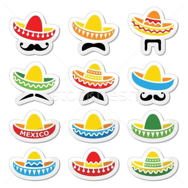 Photo stock: Mexican · sombrero · chapeau · moustache · moustache · icônes