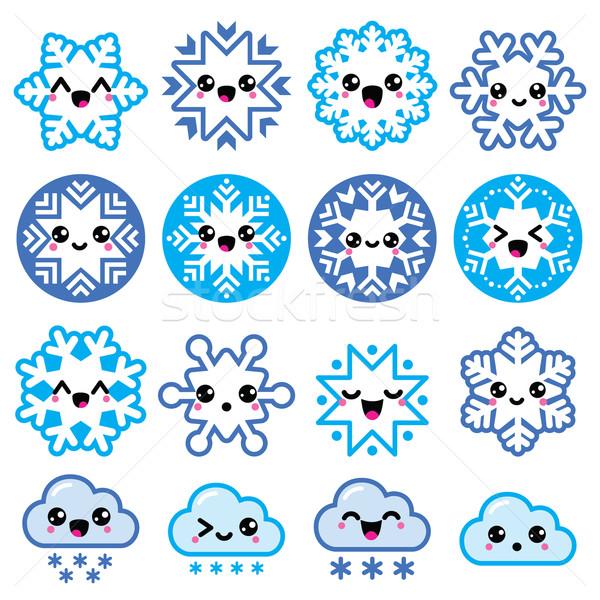 Foto stock: Kawaii · flocos · de · neve · nuvens · neve · natal · inverno