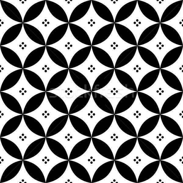 Geometric seamless pattern in black and white - inspired by Spanish and Portuguese tiles design Stock photo © RedKoala