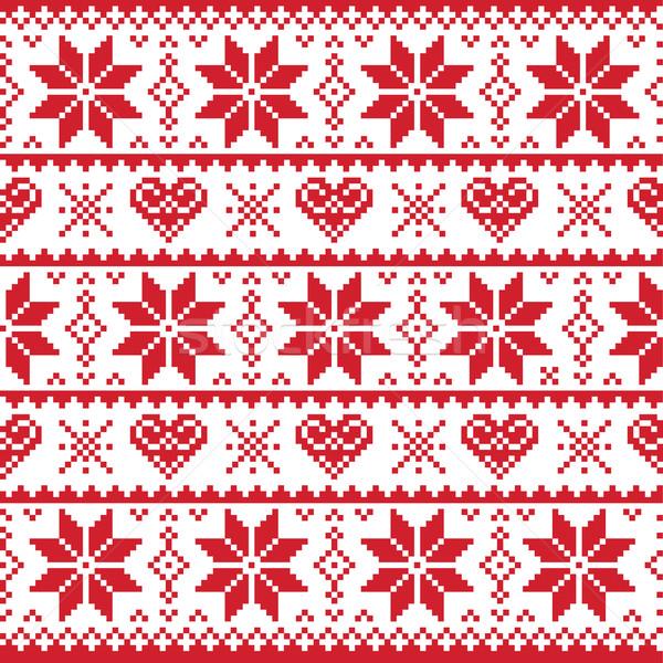 Stockfoto: Christmas · gebreid · patroon · kaart · trui · stijl