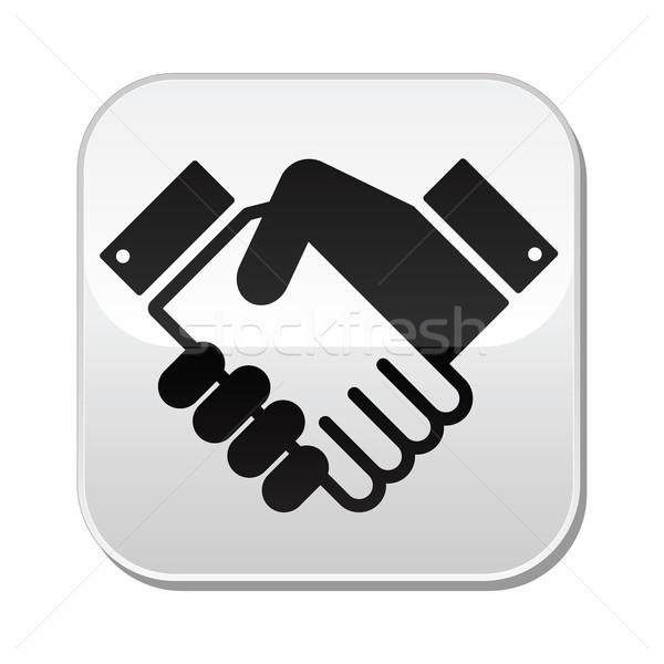 Foto stock: Apretón · de · manos · vector · botón · acuerdo · negocios · limpio