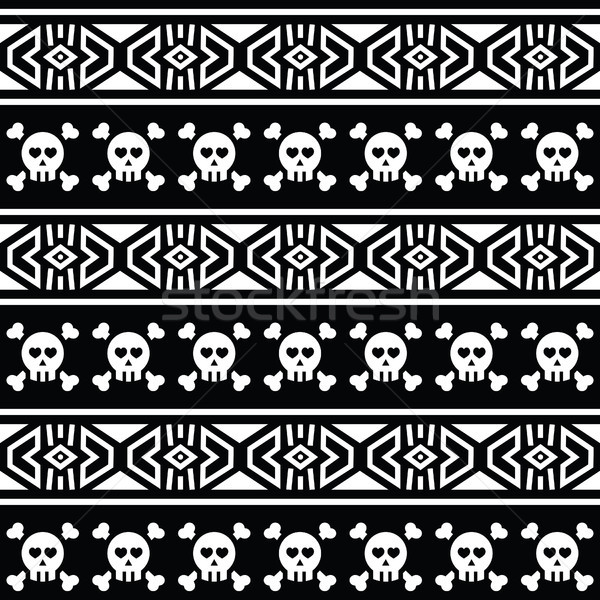 Tribal Aztec seamless pattern with skull on black   Stock photo © RedKoala
