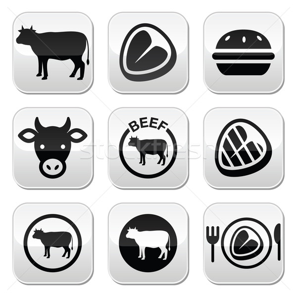 Beef meat, cow vector buttons set  Stock photo © RedKoala