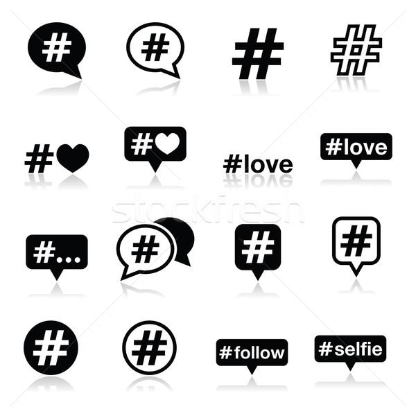 Hashtag, social media icons set  Stock photo © RedKoala